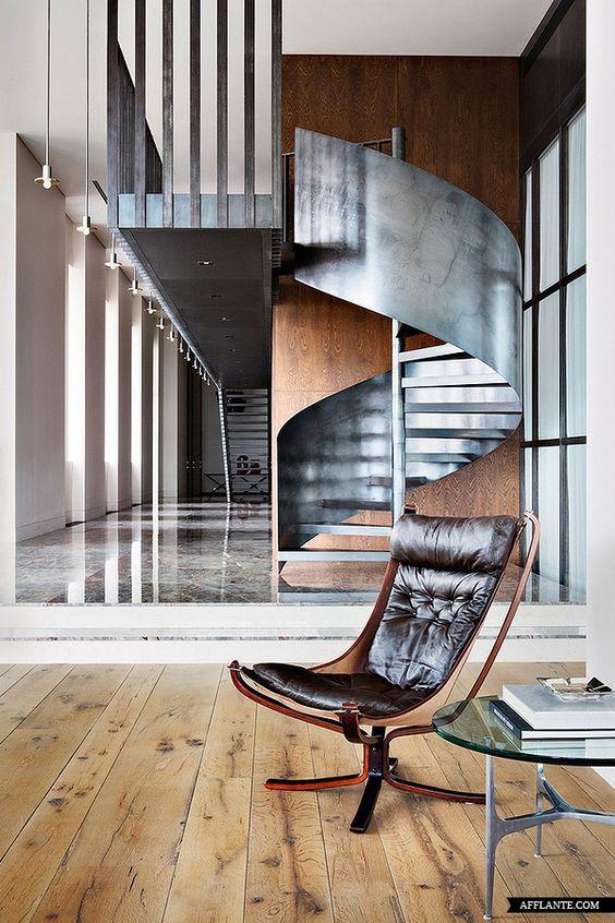deco escalier metal revetement bois masculin tendance