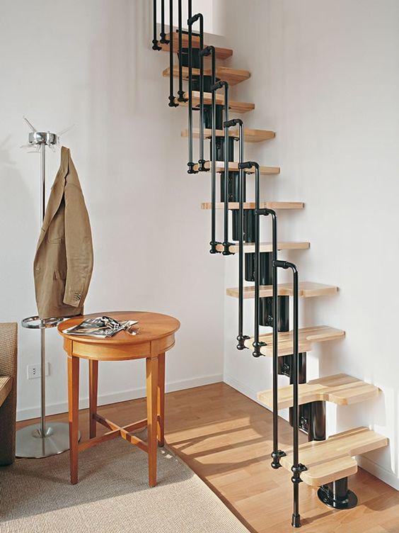 decoration escalier bois metal inspiration contraste