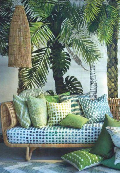 decoration salon jardin hiver jungle tendance vert