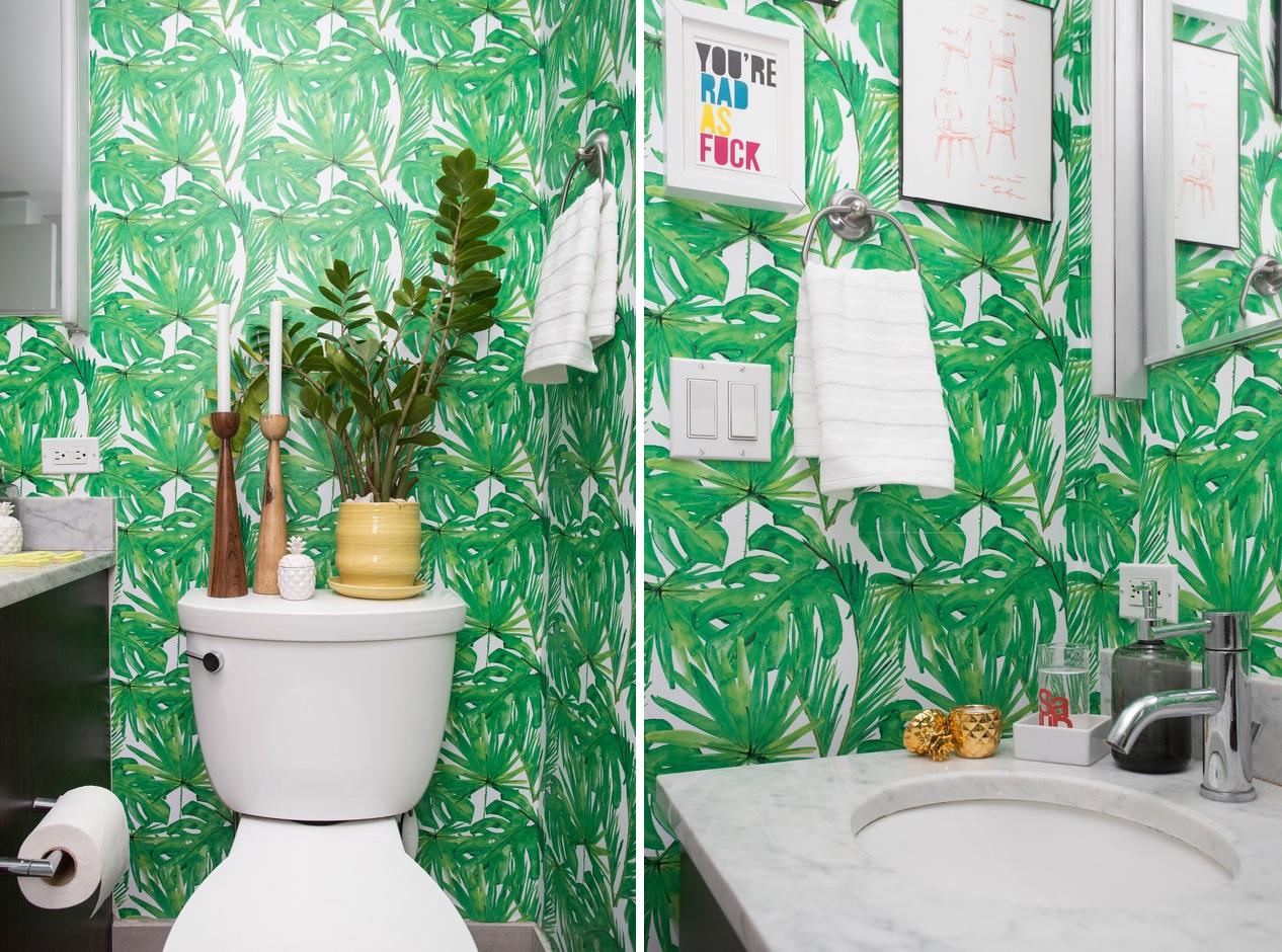 salle de bain vert papier peint deco
