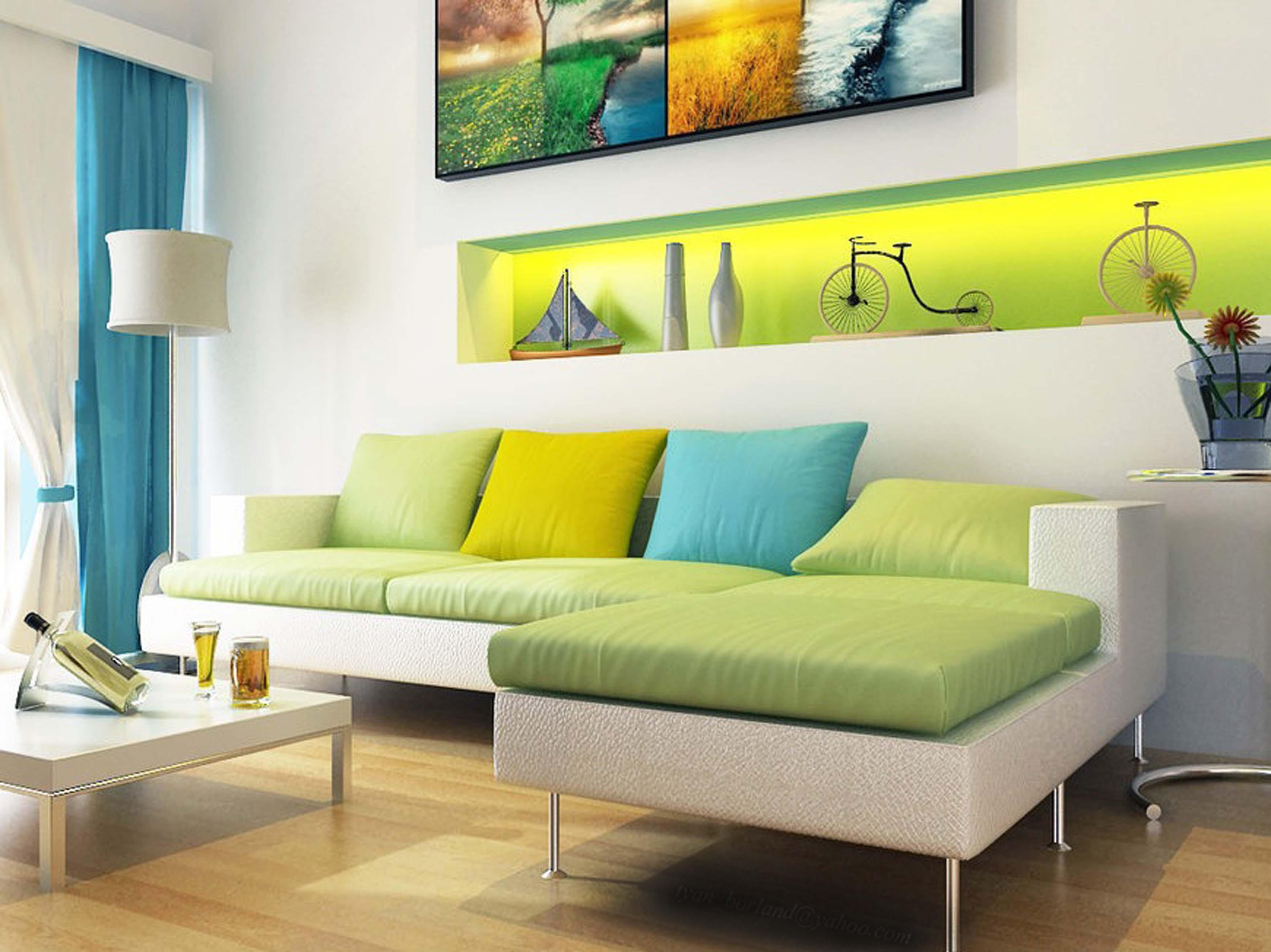 salon canape vert contemporain decoration