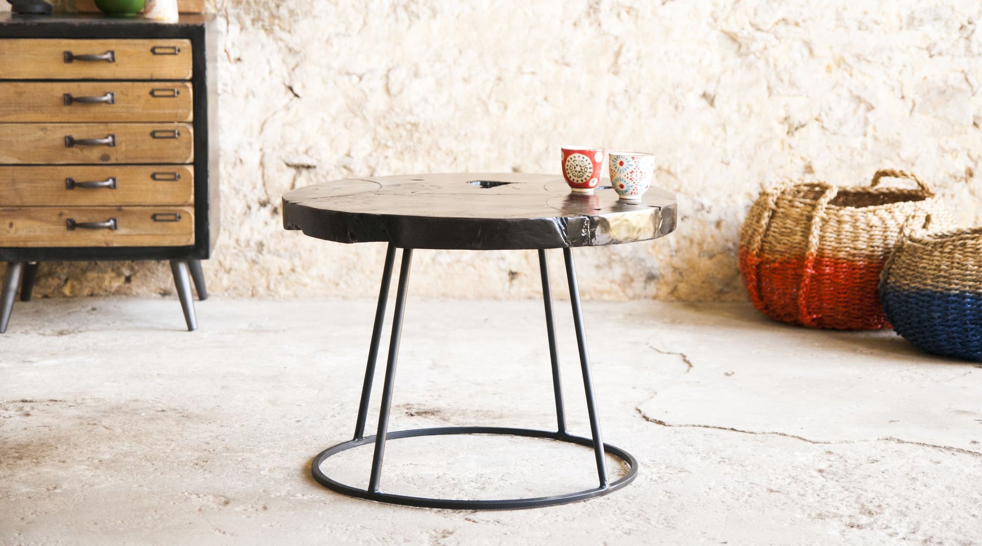 table-basse-mina-bois-metal-ronde