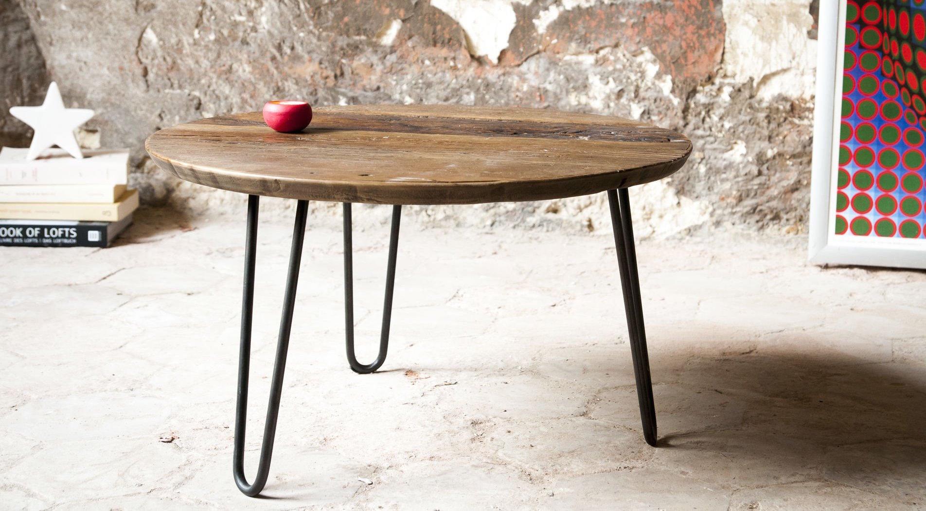 table-basse-tendance-bois-metal-ronde