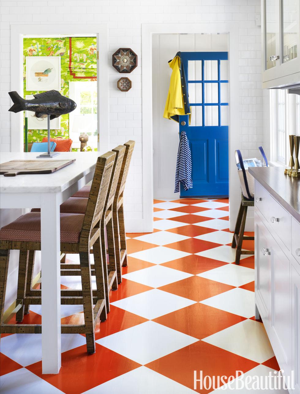 deco cuisine blanche sol couleur