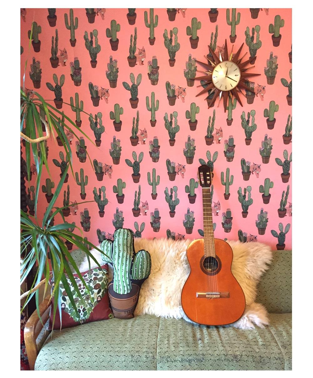 deco pepier peint coussin cactus