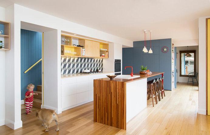decoration cuisine blanc bleu bois
