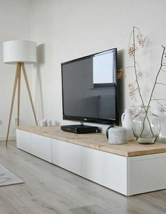 mobilier salon tele blanc scandinave