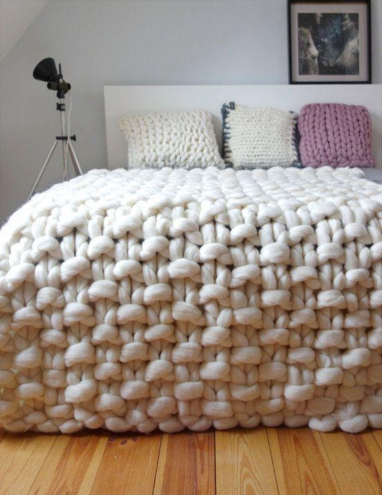 deco chambre laine plaid blanc cosy