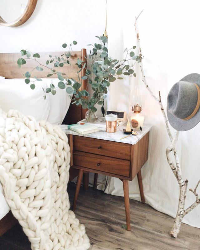deco chambre plaid jete de lit laine blanc kinfolk