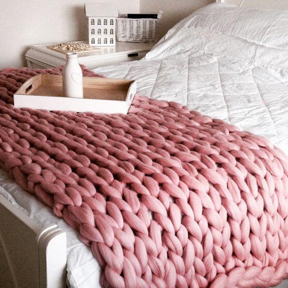deco chambre plaid laine rose