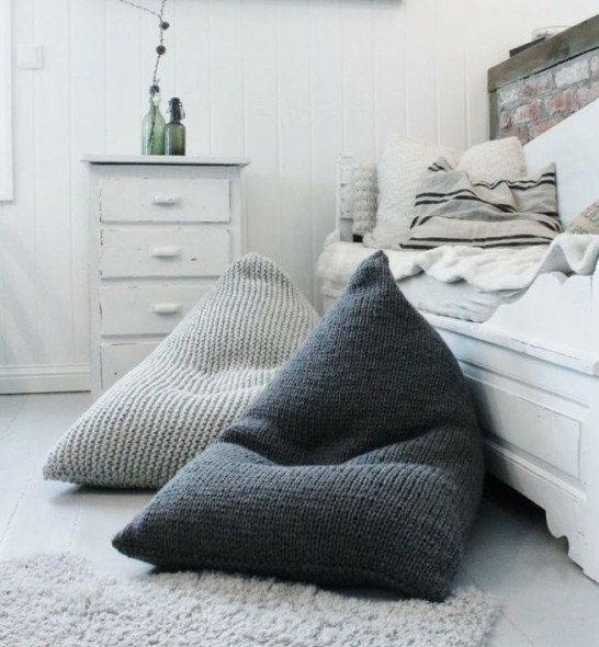 deco chambre pouff laine gris