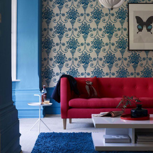 deco salon papier peint bleu classique