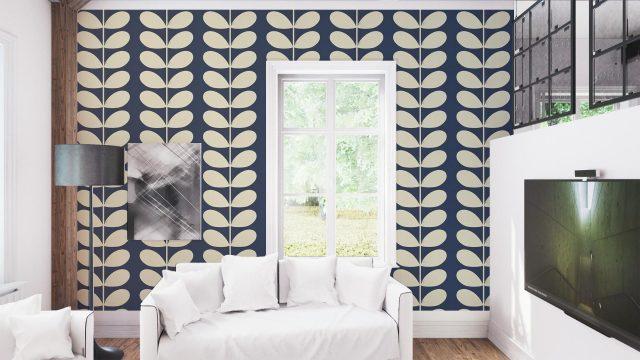deco salon papier peint bleu tendance