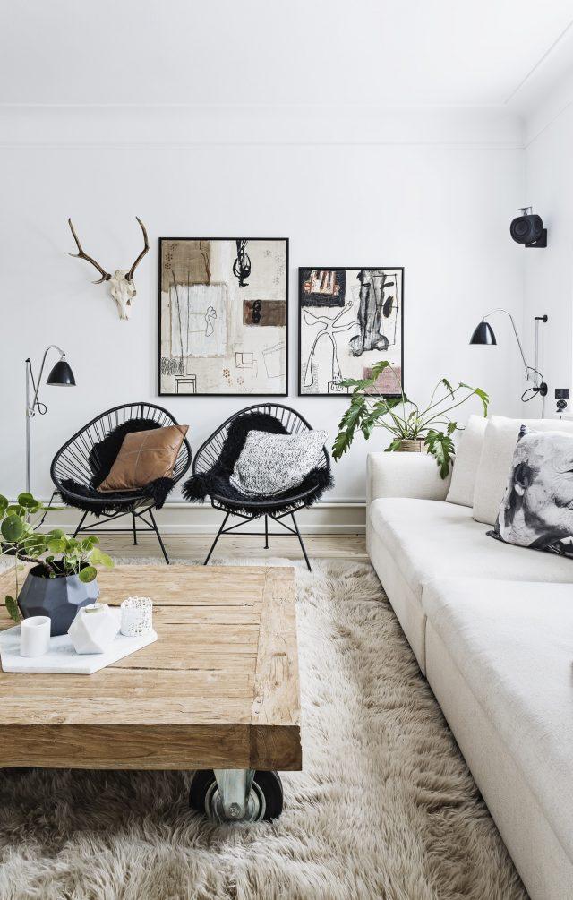deco salon tapis fauteuil canape plante cosy