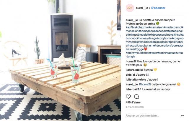 decoration recup palette table basse instagram