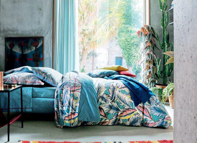 linge de lit exotique turquoise