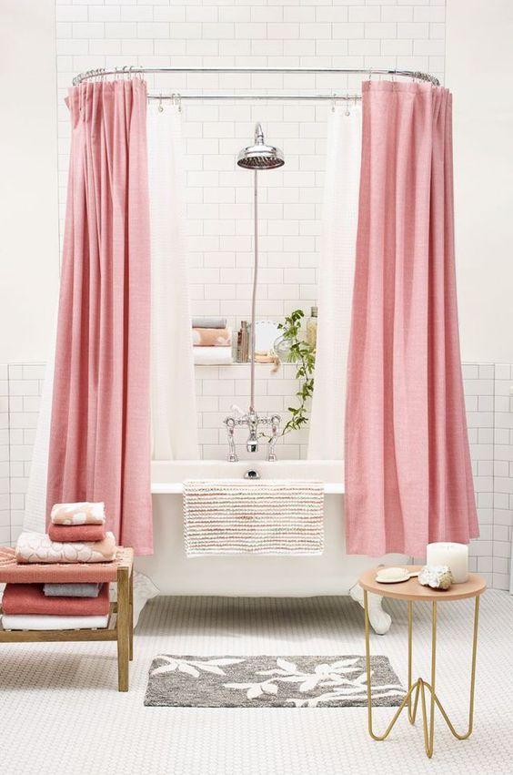 salle de bain rose rideau de douche