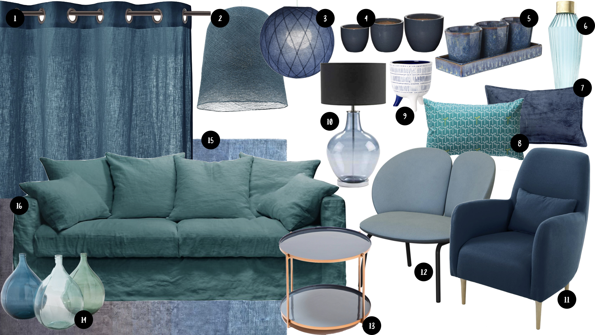 shopping deco bleu salon