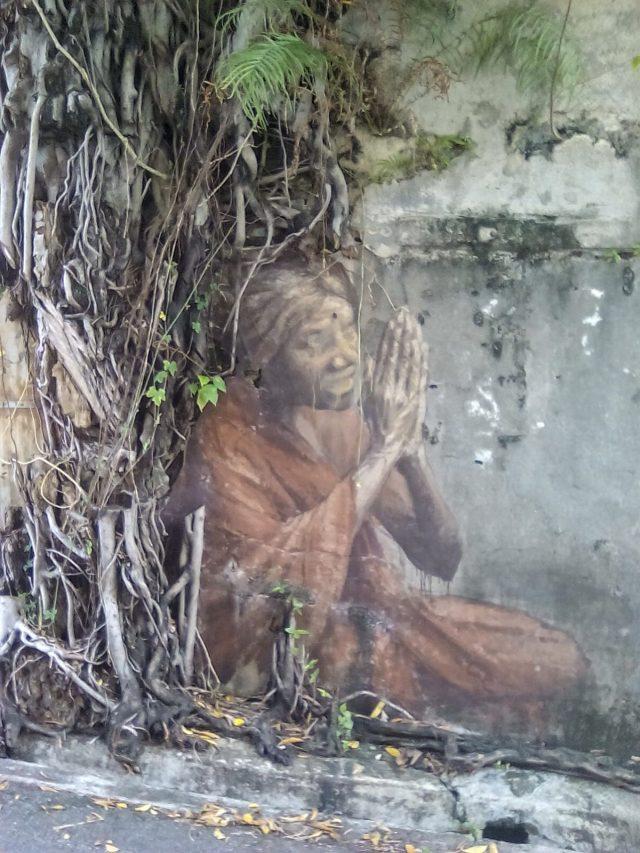 streetart arbre mur femme indienne penang malaisie vie nomade tourisme
