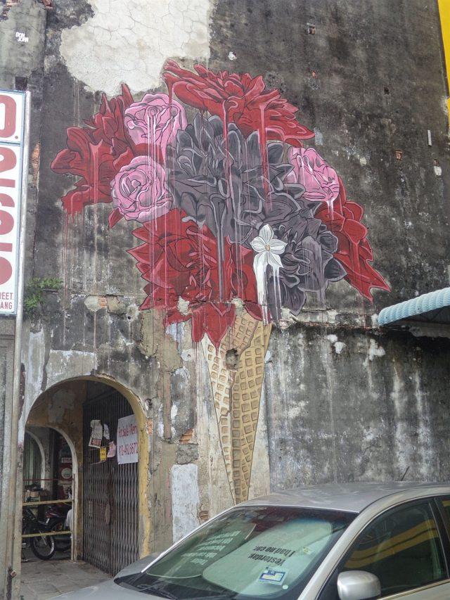 streetart glace rose fleurs penang georgetown