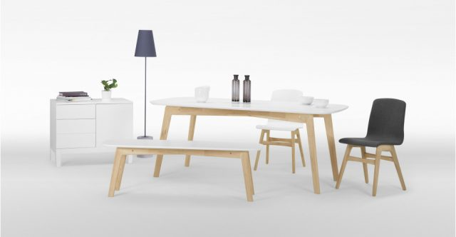table chene et blanc dante decoration salle a manger