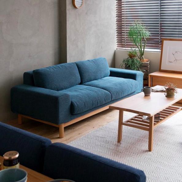 deco mobilier salon sofa bleu canape