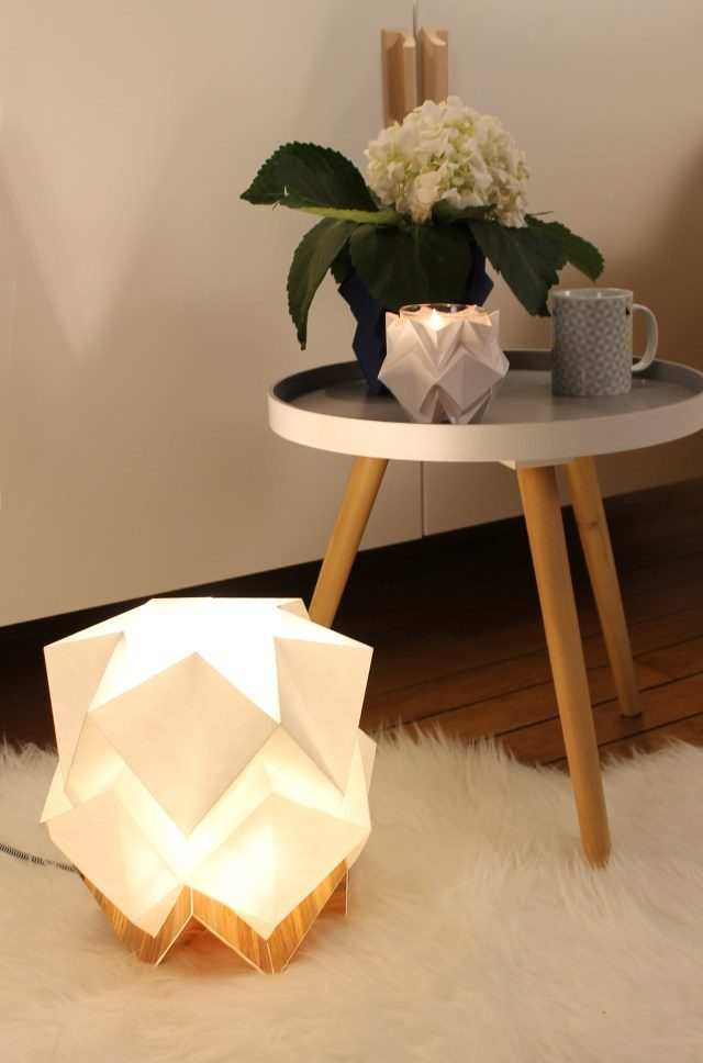 lampe origami a poser blanc et or decoration