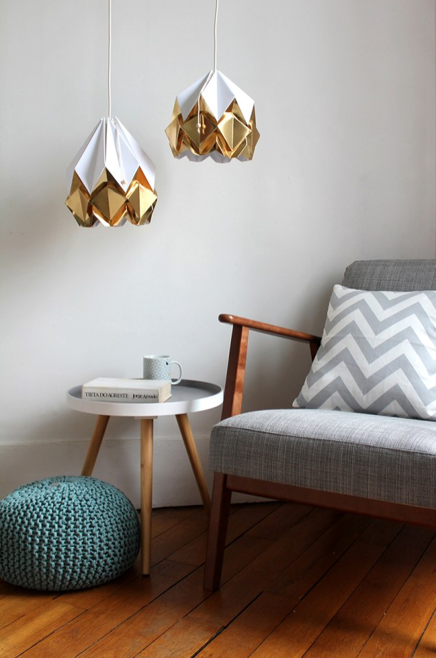 lampe origami gold decoration