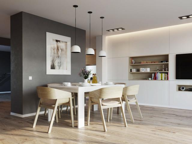 salle a manger nordique decoration mobilier bois et blanc