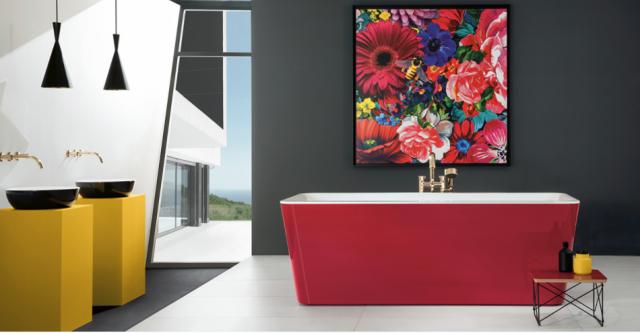 salle de bain baignoire ilot couleur