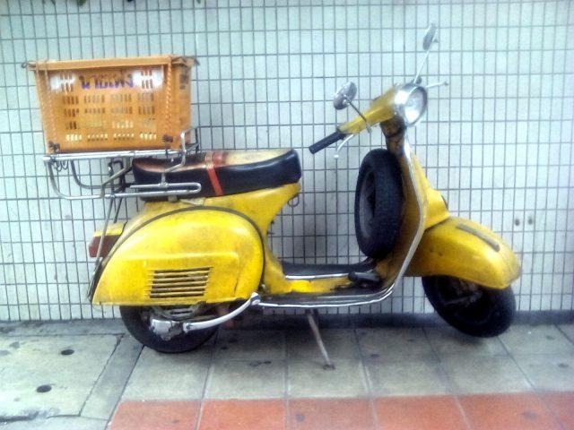 thailande bangkok vespa vintage jaune
