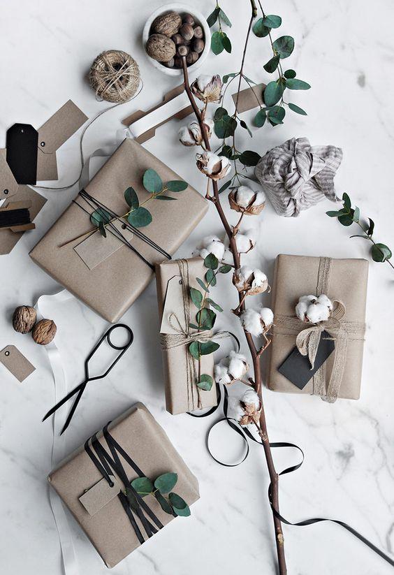 cadeau noel emballage idee nature plante
