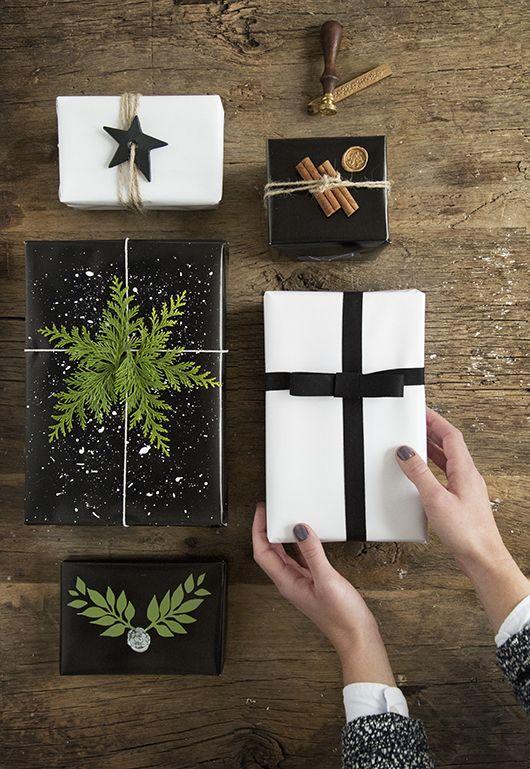 cadeau noel emballage noir et blanc