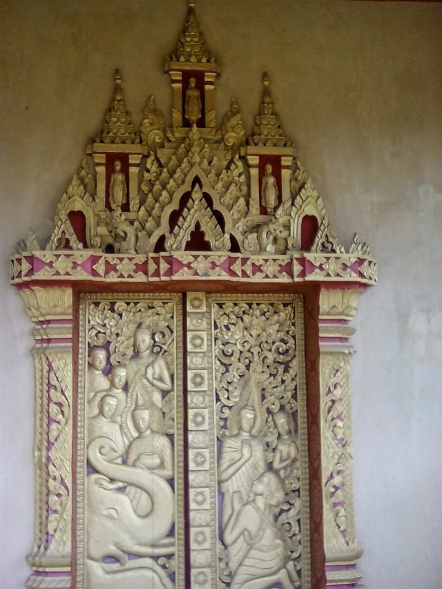 detail porte temple bouddhisme luang prabang