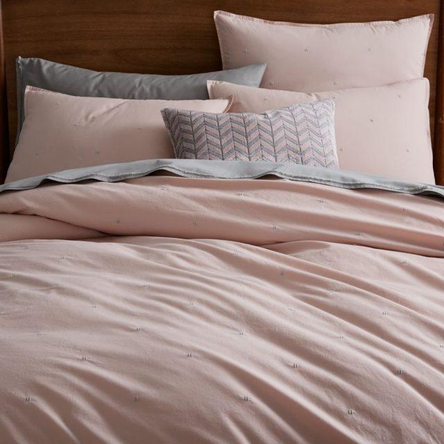 parure de lit rose blush