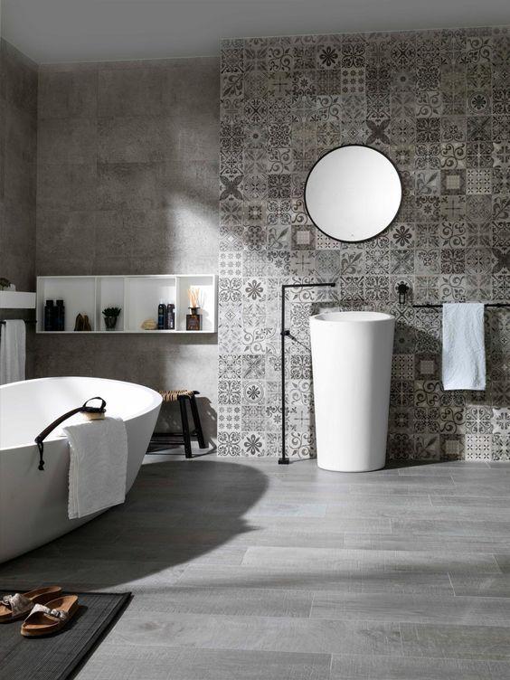 Du gris dans la salle de bain cocon de d coration le blog for Carreau salle de bain gris