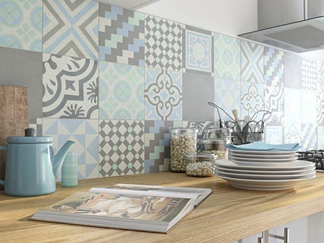 carreaux ciment bleu gris cuisine decoration