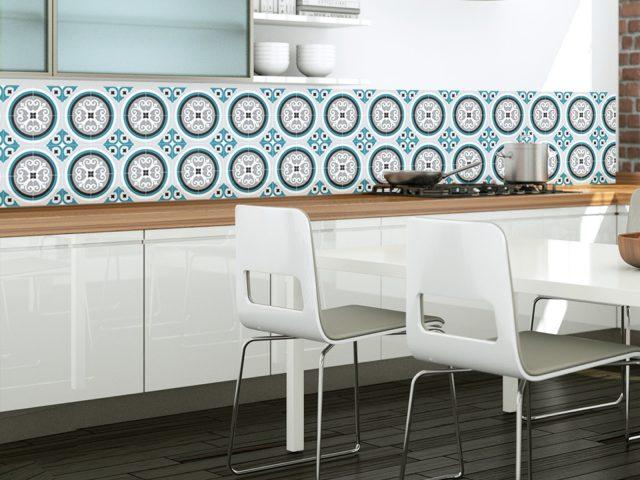 credence cuisine bleu carreaux ciment