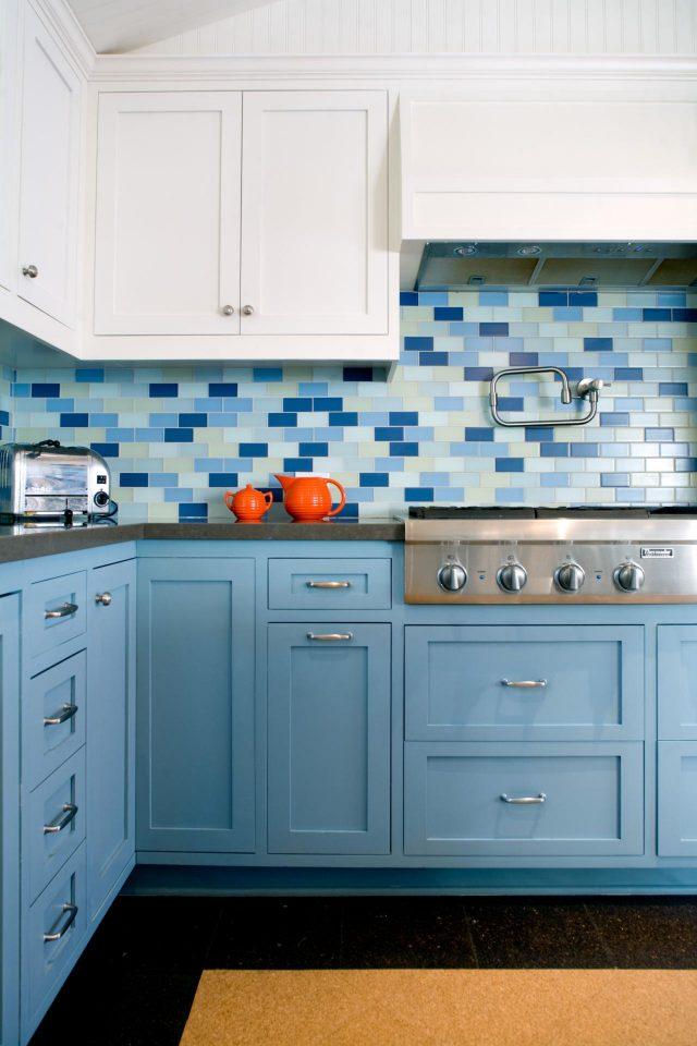 deco cuisine bleu mobilier et credence