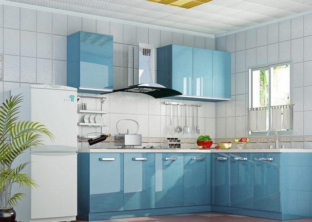 deco mobilier cuisine bleu glace
