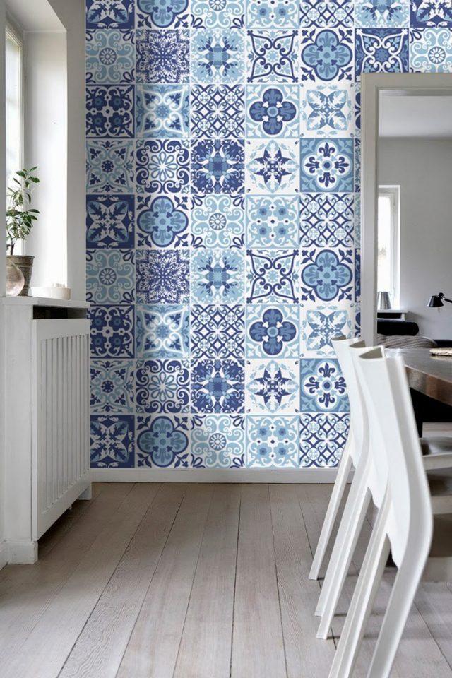 deco murale cuisine bleue carreaux ciment