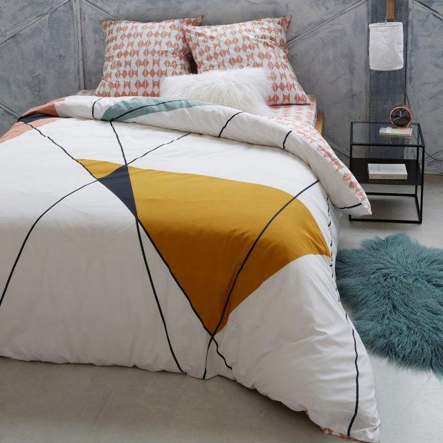 linge de lit imprime contemporain deco chambre