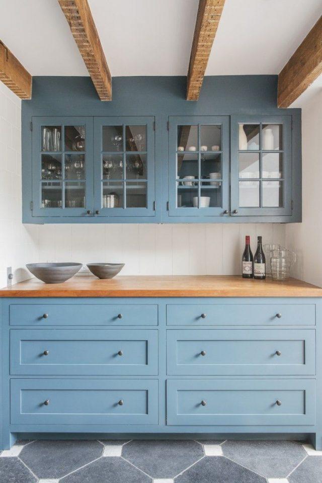 mobilier cuisine bleu gris decoration