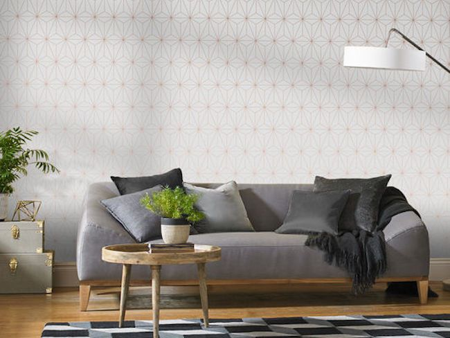 shopping d co le papier peint prism rose or cocon de d coration le blog. Black Bedroom Furniture Sets. Home Design Ideas