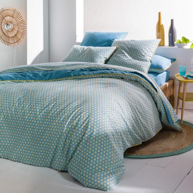 parure de lit bleue deco contemporaine