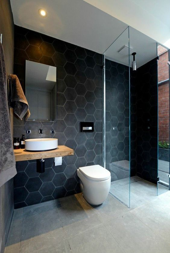 salle de bain carrelage original gris antracite