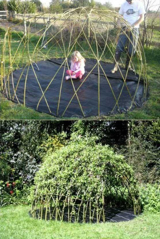 jardin deco structure diy demie sphere plante grimpante