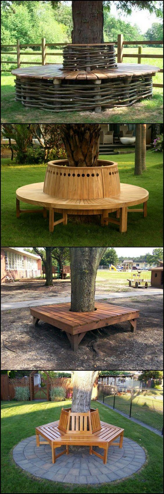 jardin structure bois assise banc arbre