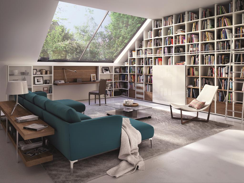 salon combles canape bibliotheque