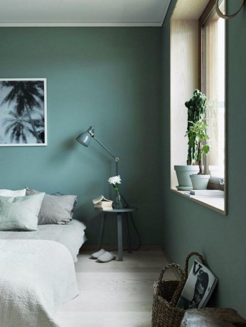 deco chambre classique sobre vert